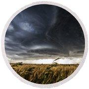 Dreamcatcher - Scenic Storm Over Kansas Plains Round Beach Towel
