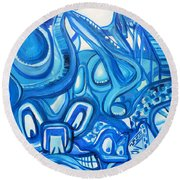 Dreaming In Blue Round Beach Towel