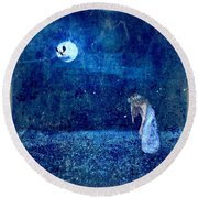 Dreaming In Blue Round Beach Towel by Rhonda Barrett