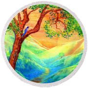 Dreaming Of Bluebells Round Beach Towel