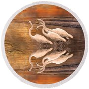 Dreaming Of Egrets By The Sea Reflection Round Beach Towel