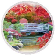 Dreaming Of Fall Bridge In Manito Park Round Beach Towel