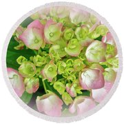 Dreaming Of Pink Hydrangeas Round Beach Towel