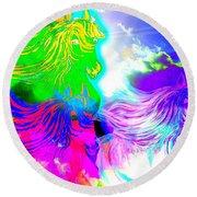 Dreaming Of Rainbow Horses Round Beach Towel