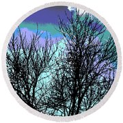 Dreaming Of Spring Through Icy Trees Round Beach Towel