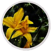Dreams Of A Day Lily Round Beach Towel