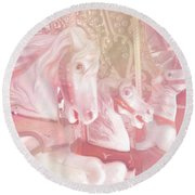 Dreamy Baby Pink Merry Go Round Carousel Horses - Pink Carousel Horses Baby Girl Nursery Decor Round Beach Towel