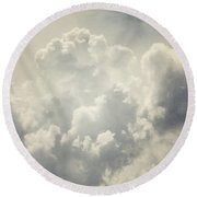 Dreamy Clouds In Shades Of Grey And Slate Blue Round Beach Towel