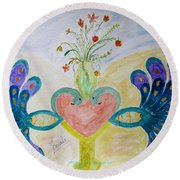 Dreamy Heart Round Beach Towel