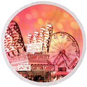Surreal Hot Pink Orange Carnival Festival Cotton Candy Stand Candy Apples Ferris Wheel Art Round Beach Towel