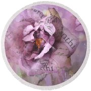 Dreamy Purple Lavender Impressionistic Abstract Floral Art Photography Round Beach Towel