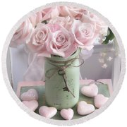 Shabby Chic Pink Roses - Romantic Valentine Roses Hearts Floral Prints Home Decor - Romantic Roses  Round Beach Towel