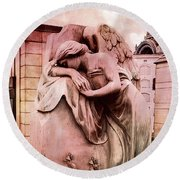 Dreamy Surreal Beautiful Angel Art Photograph - Angel Mourning Weeping At Gravestone  Round Beach Towel