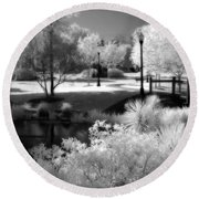Surreal Infrared Black White Infrared Nature Landscape - Infrared Photography Round Beach Towel