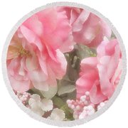 Dreamy Pink Roses, Shabby Chic Pink Roses - Romantic Roses Peonies Floral Decor Round Beach Towel