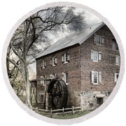 Dreary Skies At Kerr Gristmill Round Beach Towel