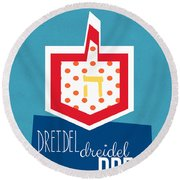 Dreidels Round Beach Towel by Linda Woods
