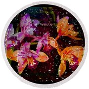 Drenched Flowers Round Beach Towel