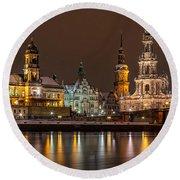 Dresden The Capital Of Saxony I Round Beach Towel