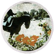 Dressage Roses Round Beach Towel