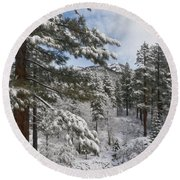 Distant Peak Round Beach Towel