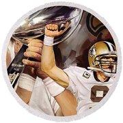 Drew Brees New Orleans Saints Quarterback Artwork Round Beach Towel