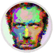 Dr. House Portrait - Abstract Round Beach Towel