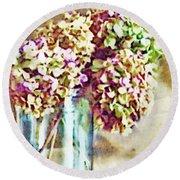 Dried Autumn Hydrangeas - Digital Paint Round Beach Towel