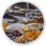 Dried Fruits Round Beach Towel