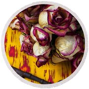 Dried Pink Roses And Key Round Beach Towel