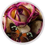 Dried Rose And Butterfly Round Beach Towel