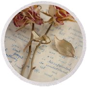 Dried Roses And Vintage Letter Round Beach Towel