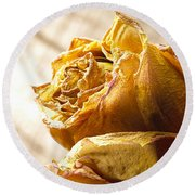 Dried Yellow Rose Round Beach Towel