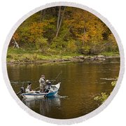 Drift Boat Fishermen On The Muskegon River Round Beach Towel