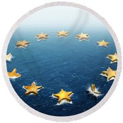 Drifting Europe Round Beach Towel