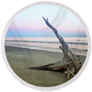 Driftwood At Dusk Round Beach Towel
