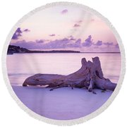 Driftwood At Sunset Round Beach Towel