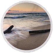 Driftwood On The Beach Round Beach Towel by Adam Romanowicz