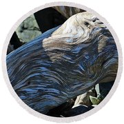 Driftwood Texture And Shadows Round Beach Towel