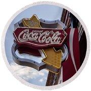 Drink Coca Cola Sign Round Beach Towel