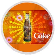 Drink Ice Cold Coke 4 Round Beach Towel by James Sage