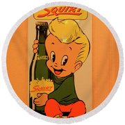 Drink Squirt Sign Round Beach Towel