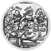 Drinking Party, 1516 Round Beach Towel