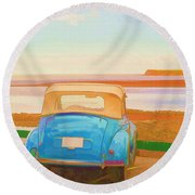 Drive To The Shore Round Beach Towel