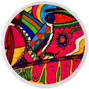 Driven To Abstraction - Parts And Pieces Round Beach Towel
