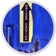 Driver Caution Round Beach Towel