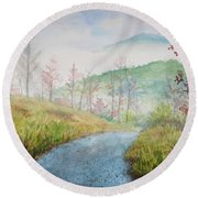 Driving Down The Mountain Round Beach Towel