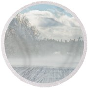 Driving In The Snow Round Beach Towel