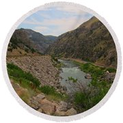 Driving Through Wind River Canyon Round Beach Towel