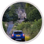 Driving To Manor House Round Beach Towel